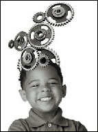 smiling child with gears on his head wizard transmission denver